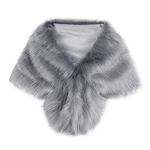 STRIR Estolas para Fiestas Mujer de Pelo Sintético Chales de Invierno y Otoño Decoración para Vestidos (Gris)