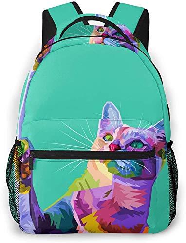 labbra colorate Basic Travel Laptop Zaino Moda Scuola Bag-Colorful Cat su Astratto Pop Art