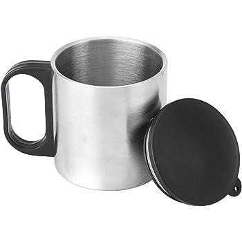 Femora Carbonate Steel Double Wall Steel Tea Cup Coffee Mug with PP Handle & Lid - 190 ML
