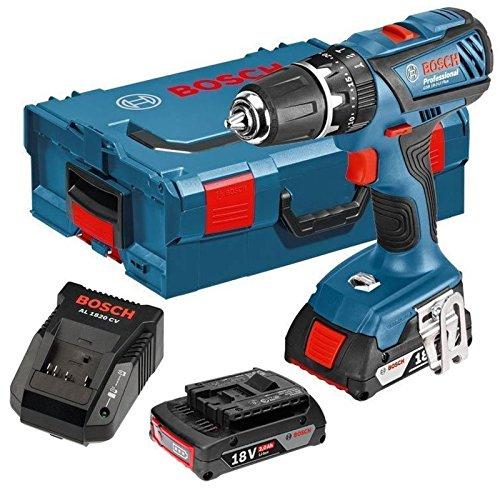 Bosch Professional GSB18-2-LI PLUS Destornillador de martillo 2 x 18V, 2 Ah