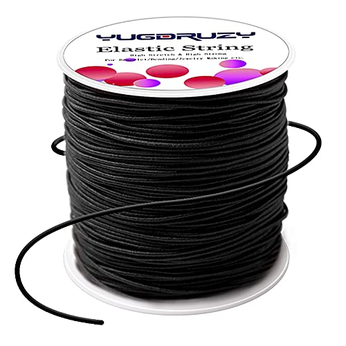 YUGDRUZY 109 Yards Elastic Cord with Sewing Scissors,2mm 328ft Craft Wire Elastic Stretch String Polyester Nylon Rope Handmade Earloop Band for DIY Jewelry Bracelet Necklace Beading Making - Black
