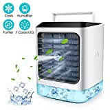 Personal Air Cooler, 2020 Portable Air Conditioner with Humidifier Air Purifier Mini Air Cooler Misting Fan with 7 Colors Light Changing, 3 Fan Speed, Portable Desk Cooling Fan for Home Room Office