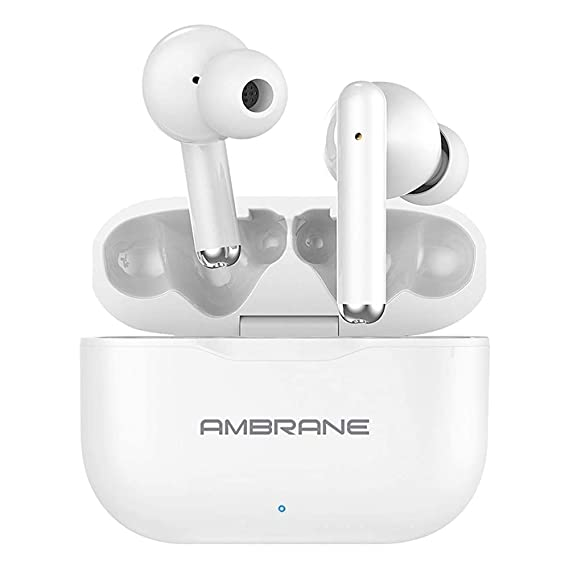 (Renewed) Ambrane Dots 38 True Wireless Earbuds with Pure HD Bass, 16H Playtime, IPX4 Waterproof, Responsive Touch Sensors for Multifunctions, Compact Type-C Charging Case (White)
