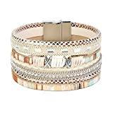 FIBO STEEL Boho Wrap Bracelets Braided Leather Rope Bangle for Women Handmade Multi-Layer Cuff New Boho Wrap Bracelets Braided Leather Rope Bangle for Women Handmade Multi-Layer Cuff