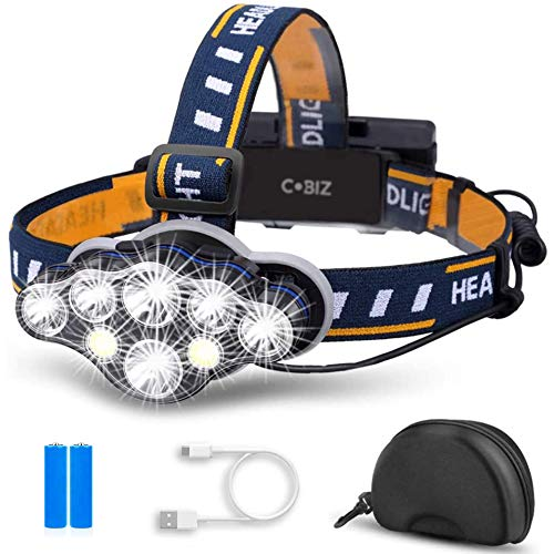 Cobiz LED Headlamp Rechargeable 2021 Newest 12000 Lumen Ultra Bright 8LED Headlight Flashlight with White Red Lights, USB Rechargeable Head Lamp, 8 Modes for Outdoor Camping Running Fishing