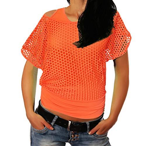 Freyday Damen Netzoberteil Sommertop Fasching Partytop in versch. Farben (S-M,Orange)