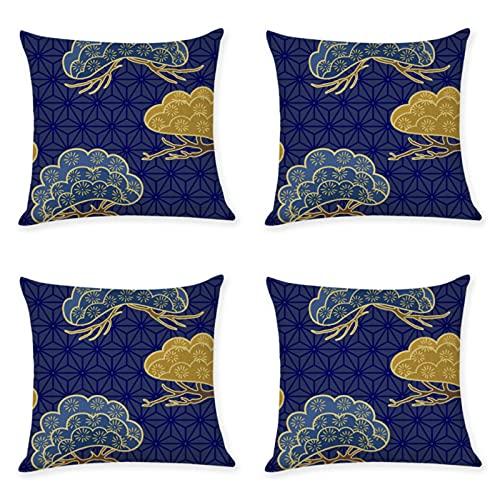 Patrón de textura de viento funda de almohada 45X45cm cubierta de cojín decoración del hogar almohada de lino 4 piezas conjunto 00811