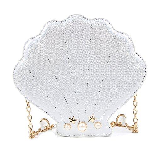 Kuang Women Shinny Seashell Chain Shoulder Bags Cute Pearl Mermaid Shell Crossbody Purse Unique Chain Handbags