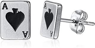 Stainless Steel Ace Spade Gambling Casino Biker Cockail Party Stud Earrings