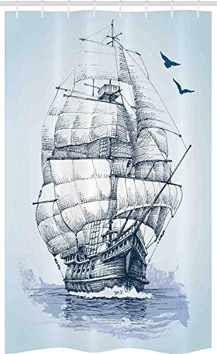 ABAKUHAUS Vintage Boat Schmaler Duschvorhang, Altes Schiff auf See, Badezimmer Deko Set aus Stoff mit Haken, 120 x 180 cm, Babyblau & Dunkelblau