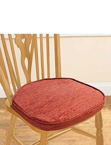 Chenille Plain Dining Seat Pads Pack Of Two Terracotta One Size