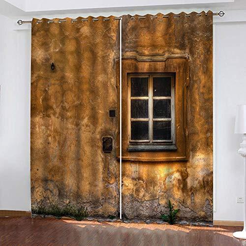 QCTTBD Tende Oscuranti Termiche Isolanti - 280X 260 Cm - Casa Gialla Vintage - Moderna Soggiorno Camera Da Letto Salotto Bambini - 3D Stampa Digitale Con Occhielli Tenda
