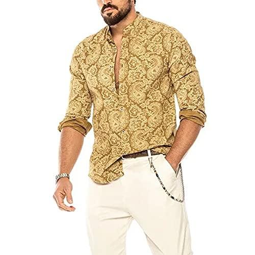 BIBOKAOKE Herren Langarm Hemden V Ausschnitt Hawaii Langarmshirts Mode Bedrucktes Freizeithemden Lange Muscle Shirt Business Arbeit Sleeve Dünne Atmungsaktiv Sommerhemd Langärmelige Tops
