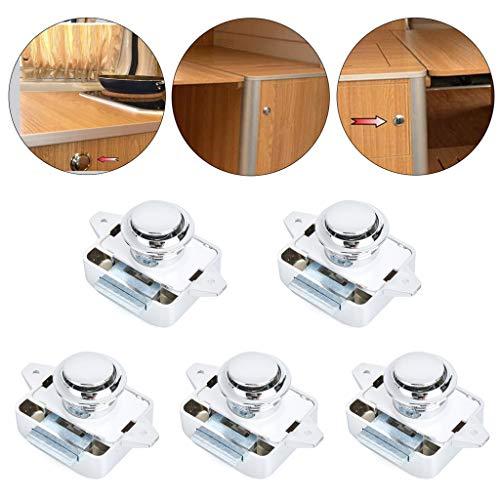 5 Stück Push Button Catch Door Lock, Druckschlösser aus Zinklegierung für Schranktüren, Kein Schlüssel Erforderlich, Universell Einsetzbar in Schranktüren, Wandschränke, Fahrzeugen, Schränken