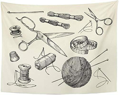 Tapiz Vintage Nociones de costura Aguja de hilo Tijeras Bola de hilo Agujas de tejer Crochet Sketch Kit Tapiz Colgante de pared para vivir 150x200cm