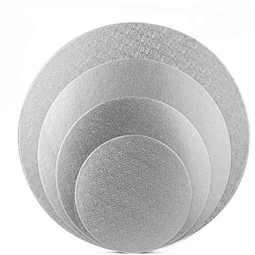 Tebery - 12 sottotorta in Alluminio, qualità Professionale (Ø 15 + 20 + 25 + 30 cm, Argento)