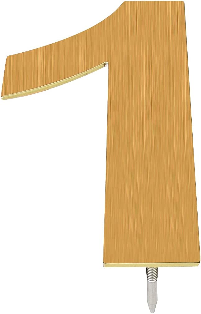 McKay Metals 10 Inch High Modern Floating House Numbers-Premium, Designer Quality Stainless Steel Home/Business Address Number| Easy to Install, Brass Finish| Distinctive Exterior (1)