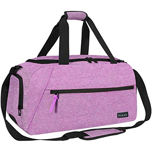 Rotot Sport Duffel Bag, Gym Bag with Waterproof Shoe Pouch, Weekend Travel Duffle Bag with a Water-resistant Insulated Wet Pocket Cooler (33L) (Purple)