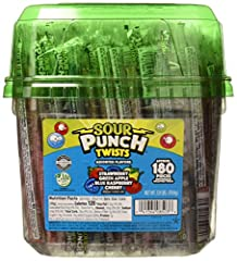 Individually wrapped in this 3.9-Pound tub, this assortment of sour Punch twists candy comes in the perfect pack for passing out treats, whether at home or at the office. Grab a handful these blue Raspberry, cherry, strawberry and apple flavored chew...