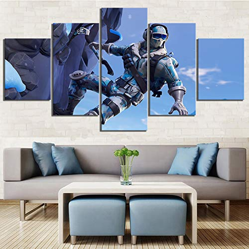 5 stuk Canvas Muur kunst Stickers Fortnite Battle Royale Video Spel Poster Landschap Muur kunst Huiskamer Decor,A,20x35x2+20x45x2+20x55x1