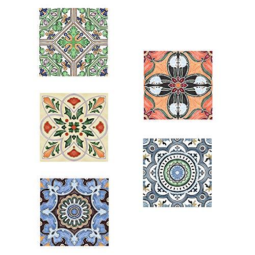 EasyLife 10 pegatinas para azulejos de pared con lentejuelas para decoración del hogar, 20 x 20 cm, impermeables y autoadhesivas, para cocina y baño(D04)