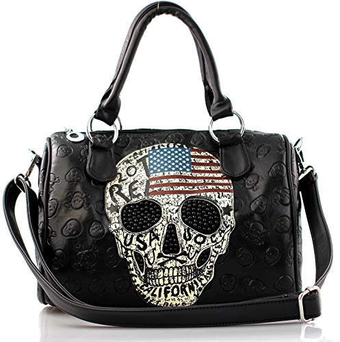 Damen Handtasche Totenkopf Skull Bone Bowling Bag Gothic Punk Damentasche Stars Stripes Amerika Punk Rock Pop