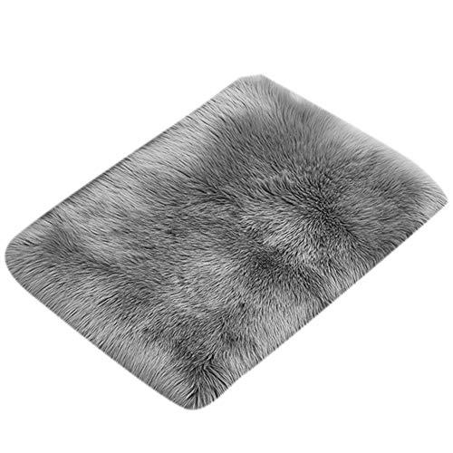 Neborn Teppich aus Lammfell-Imitat, hochwertig, 70 x 150 cm, Kunstfell-Imitat, Lammfell-Imitat, Kunstfelloptik, Lange Bettmatte 70 * 150 cm grau