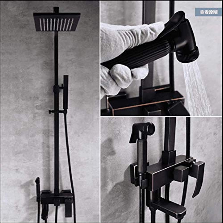 GZF Badezimmer Schwarz Dusche Set Wand Regendusche Mischbatterie Wasserhahn 4-funktionen Mischventilsatz System