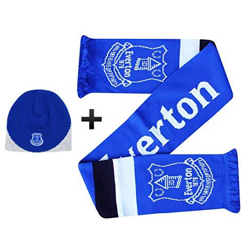 Officiële Everton FC Voetbal Muts & Sjaal Fans Gift Set (100% Acryl)