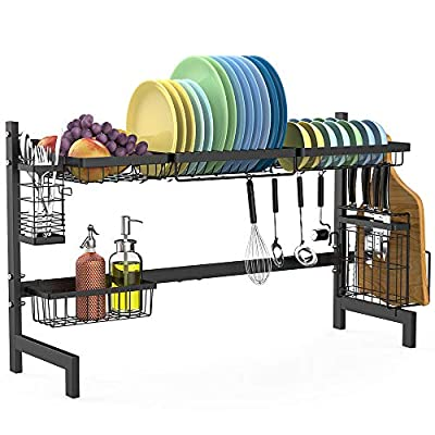 Over the Sink Dish Drying Rack, Cambond Dish Drainer Shelf Stainless Steel Dish Rack with Utensils Holder for Kitchen Counter from