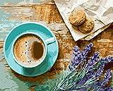 Diy Pinturas Al Óleo Kit Postre Café Lavanda Para Adultos De La Del Kit De Pintura Al Óleo Para Con Pinceles Y Pinturas Decoraciones Para El Hogar40*50Cm