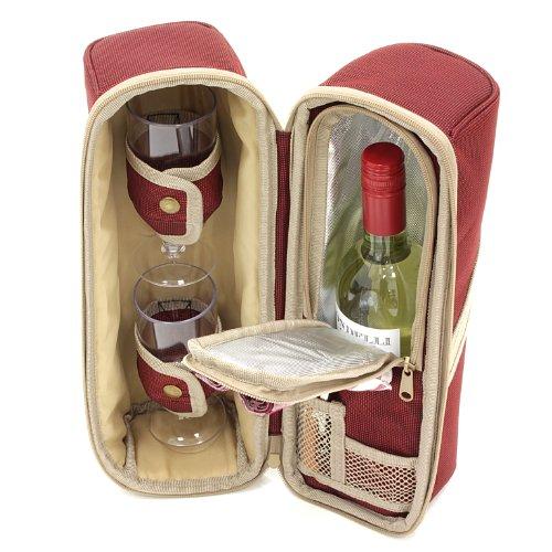 Greenfield Collection Deluxe Borsa Termica per Vino, per Due Persone, Colore Rosso Mora