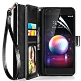 Axiay LG K30 Case, LG K10 2018 Case Wallet,LG Harmony 2/Premier Pro LTE/Phoenix Plus/Xpression Plus Case w Screen Protector/Wrist Strap Kickstand Card Slots Flip Folio Shockproof Leather Cover,Black
