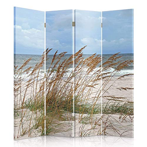 Feeby Frames. Die gedruckten auf Canvas Leinwand Wandschirme, dekorative Trennwand, Paravent einseitig, 4 teilig (145x180 cm), Gras, Strand, Meer, WEIß, BLAU