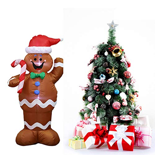 4.9FT Christmas Santa Inflatables Yard Decorations, Indoor Outdoor Inflatable Christmas Blow up Decor Rises Up and Down Snowmen with Built-in LEDs for Lawn Patio Garden Display Xmas Party (Brown)