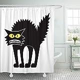 hysxm Duschvorhang Mit Haken Angst Cartoon Black Cat Leerzeichen Lustige Halloween Scary Silhouette Horror Weiß Badezimmer Dekor-160(H)*200(W) cm