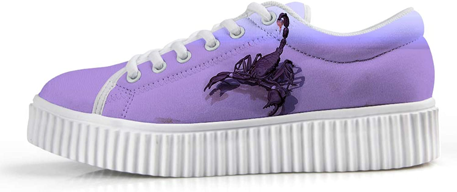 Owaheson Platform Lace up Sneaker Casual Chunky Walking shoes Low Top Women Poison Needle Scorpion