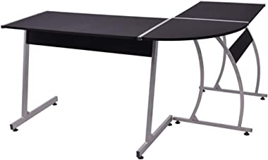 vidaXL Corner Desk L-Shaped Black Computer Student Study Office Home Table