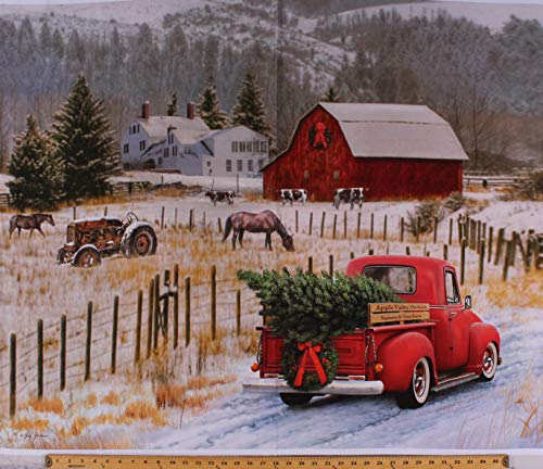 36' X 44' Panel Holiday Red Truck Christmas Tree Country Farm House Winter Scene Red Barn Tractor Horses Christmas Memories Cotton Fabric Panel (D500.38)