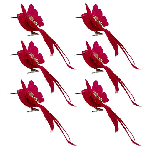LWINGFLYER 6pcs Red Hummingbird Clip on Ornaments Artificial Foam Flying Glitter Bird with Feathers for Wedding Birthday Party Crafts Decoration
