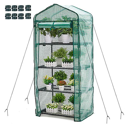 4 Tier Mini Greenhouse Portable Garden Plant Green House with Zippered PE Cover and Metal Shelves for Garden Yard Patio Indoor Outdoor Use Extra Wind Ropes & Hooks 8 Net Rack Buckles, 63x28x20 in