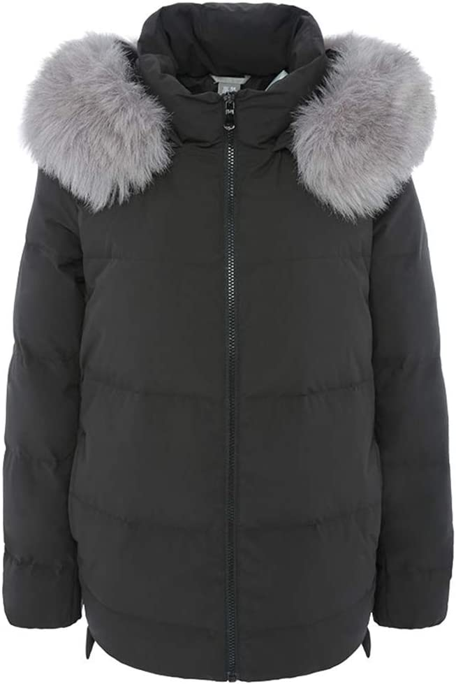 New Down Jacket 2019Winter Parka Padded Duck Down Filling,Down Coat Thickening Warm Faux Fur Hood,Black,S