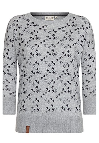 Naketano Damen Strickjacke Maja Will Vögel(n) Pullover