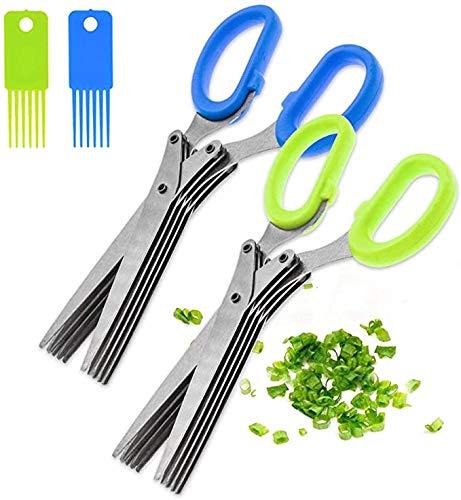 2 tijeras para hierbas de acero inoxidable con 5 hojas, tijeras para hierbas de corte multiusos con cepillo de limpieza para cocinar, corte de papel (azul + verde)
