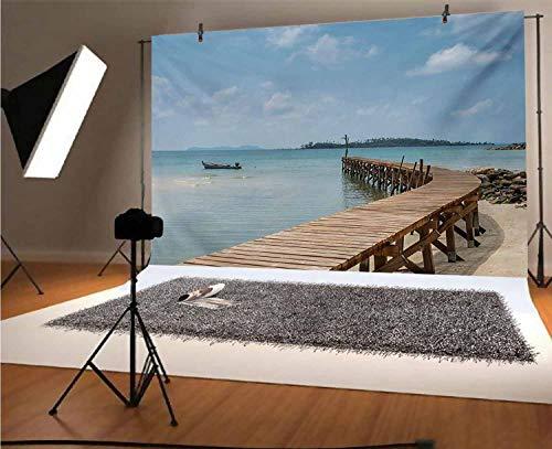 Paisaje de 30 x 30 m Fotógrafos de vinilo viejo puente de madera al mar azul en Koh Kood Trat Tailandia Exótico paisaje de playa para decoración del hogar al aire libre Tema Shoot Props
