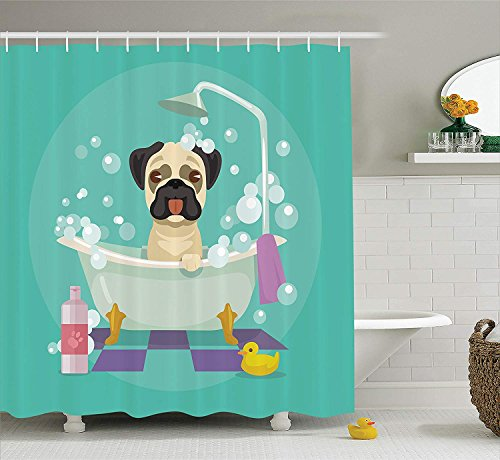 XZLWW Pug Hond in Badkuip Grooming Doggy Puppy Douche Gordijn Salon Service Shampoo Rubber Eend Huisdieren Cartoon Afbeelding Douche Gordijn