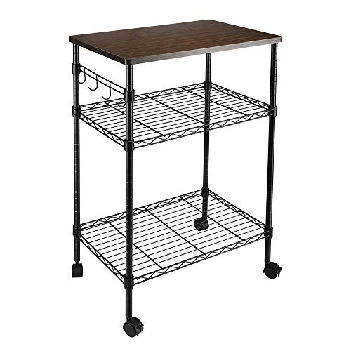 YZG LIFE 3 Tier Heavy Duty Commercial Grade Utility Cart with Wood Top, Wire Rolling Cart with Handle Bar, Steel Service Cart with Wheels, Utility Shelf Food Storage Trolley (Original)