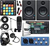"PreSonus AudioBox 96 Audio Interface Full Studio Bundle with Studio One Artist Software Pack, ATOM MIDI/Production Pad Controller, Eris E3 Pair 2-Way Monitors and 1/4"" TRS to TRS Instrument Cable"