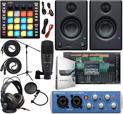 """PreSonus AudioBox 96 Audio Interface Full Studio Bundle with Studio One Artist Software Pack, ATOM MIDI/Production Pad Controller, Eris E3 Pair 2-Way Monitors and 1/4"""" TRS to TRS Instrument Cable"""