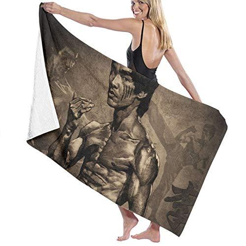Bruce Lee - Toalla de playa cómoda de fibra superfina, ligera y rápida absorción de agua, tamaño grande, toalla de baño familiar para piscina, toalla de playa de 80 x 130 cm